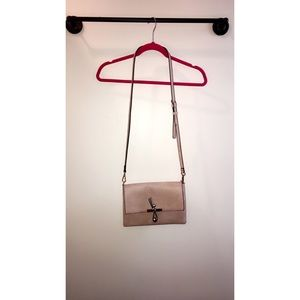 Pale pink vegan leather cross body handbag
